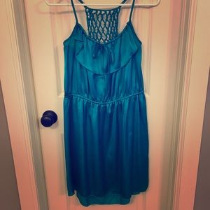 Turquoise Satiny Racerback Net Summer Dress 👗